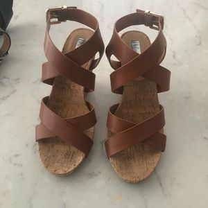 INC cork wedge sandal